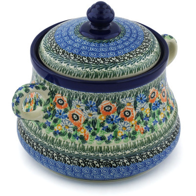 "Polish Pottery Jar with Lid and Handles 9"" Blue Violet Garden UNIKAT"