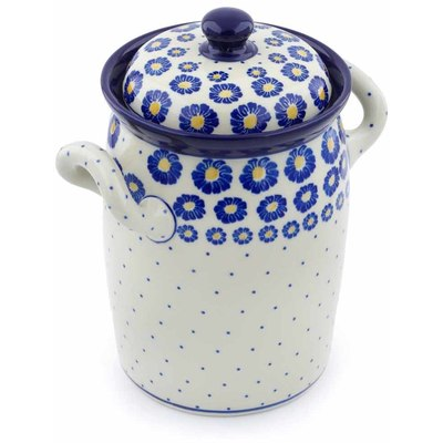 "Polish Pottery Jar with Lid and Handles 9"" Blue Zinnia"