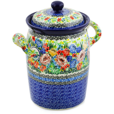 "Polish Pottery Jar with Lid and Handles 9"" Carnation Valley UNIKAT"