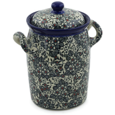 "Polish Pottery Jar with Lid and Handles 9"" Classic Black And White UNIKAT"