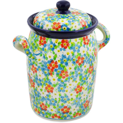 "Polish Pottery Jar with Lid and Handles 9"" Colorful Dizziness UNIKAT"