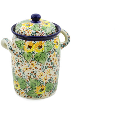"Polish Pottery Jar with Lid and Handles 9"" Country Sunflower UNIKAT"