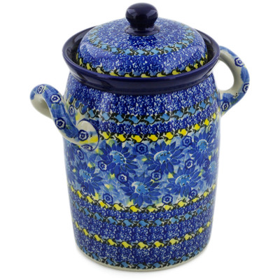 "Polish Pottery Jar with Lid and Handles 9"" Deep Blue UNIKAT"