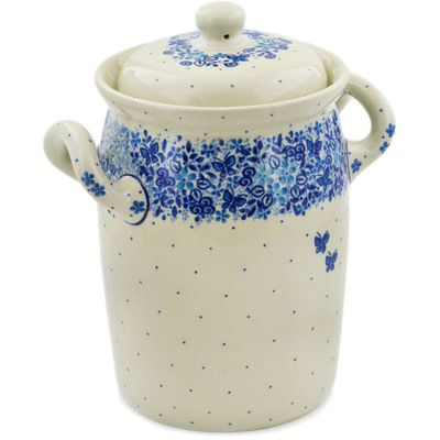 "Polish Pottery Jar with Lid and Handles 9"" Delicate Blue UNIKAT"