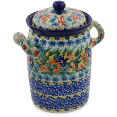 "Polish Pottery Jar with Lid and Handles 9"" Dream Bouquet UNIKAT"