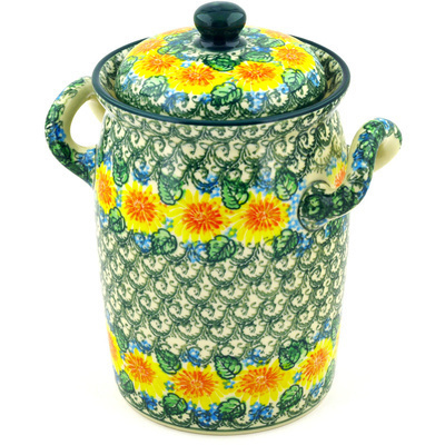 "Polish Pottery Jar with Lid and Handles 9"" Marigold Chain UNIKAT"