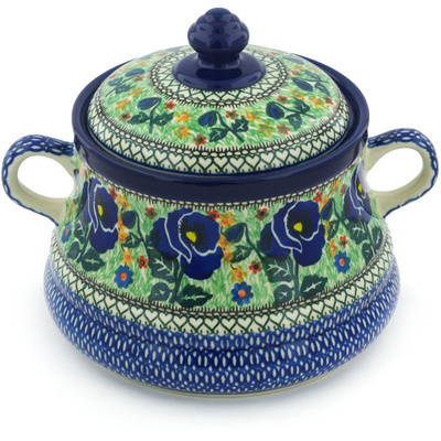"Polish Pottery Jar with Lid and Handles 9"" Midnight Roses UNIKAT"