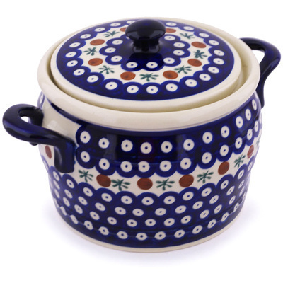"Polish Pottery Jar with Lid and Handles 9"" Mosquito"