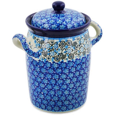 "Polish Pottery Jar with Lid and Handles 9"" Out Of Blue UNIKAT"