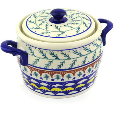 "Polish Pottery Jar with Lid and Handles 9"" Pine Boughs"