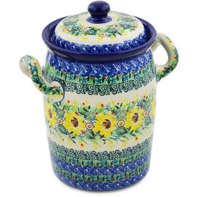 "Polish Pottery Jar with Lid and Handles 9"" Yellow Garden UNIKAT"