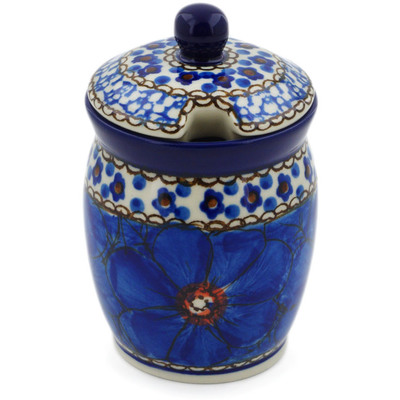 "Polish Pottery Jar with Lid with Opening 4"" Cobalt Poppies UNIKAT"
