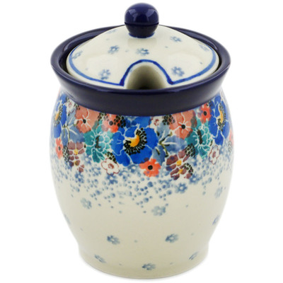 "Polish Pottery Jar with Lid with Opening 5"" Autumn Bunch UNIKAT"