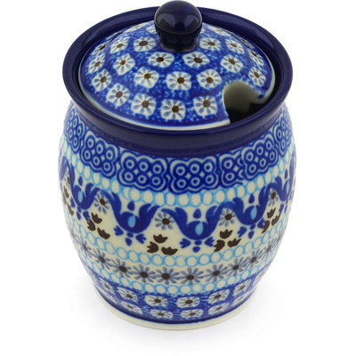 "Polish Pottery Jar with Lid with Opening 5"" Blue Ice"