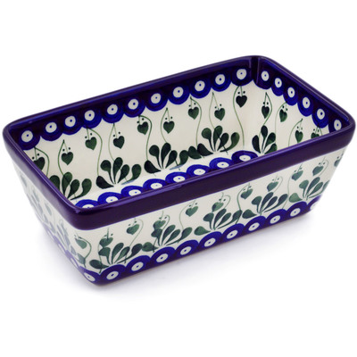 "Polish Pottery Loaf Pan 8"" Bleeding Heart Peacock"
