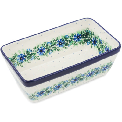 "Polish Pottery Loaf Pan 8"" Blue Bell Wreath"