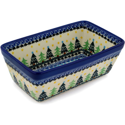 "Polish Pottery Loaf Pan 8"" Christmas Evergreen"
