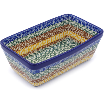 "Polish Pottery Loaf Pan 8"" Grecian Sea"