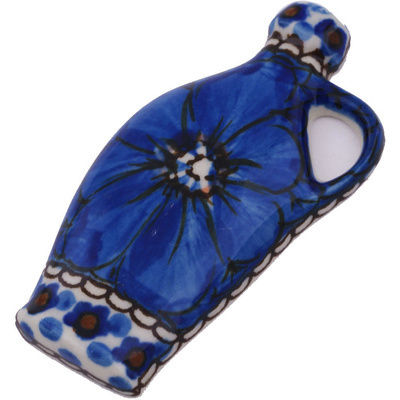 "Polish Pottery Magnet 3"" Cobalt Poppies UNIKAT"