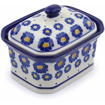 "Polish Pottery Mini Cake Box 4"", Salt Box, Blue Zinnia"