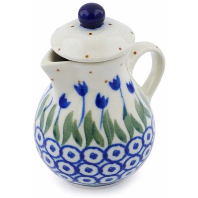 "Polish Pottery Mini Jug 3"" Blue Tulip Circle"