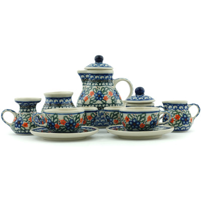 "Polish Pottery Miniature Tea Set 3"" Cobblestone Garden"