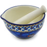Polish Pottery Mortar and Pestle Small Cobalt Poppies UNIKAT