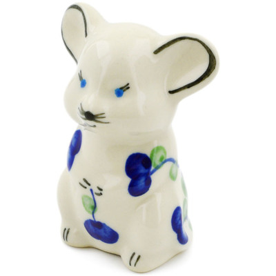 "Polish Pottery Mouse Figurine 3"" Blue Poppies"