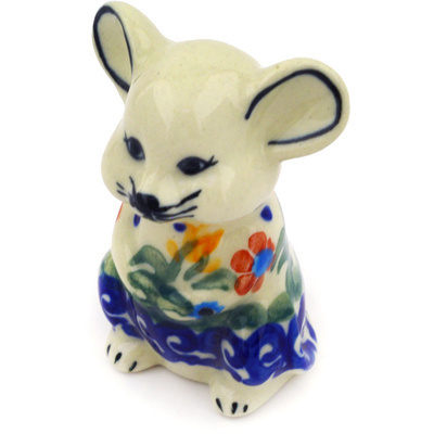 "Polish Pottery Mouse Figurine 3"" Spring Flowers"