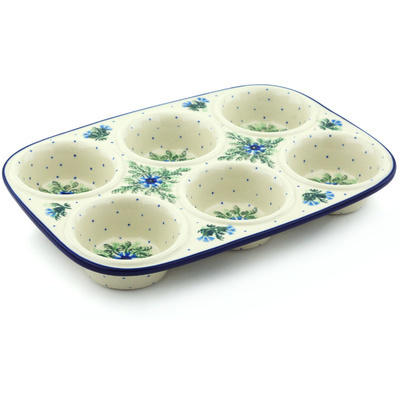"Polish Pottery Muffin Pan 11"" Blue Bell Wreath"