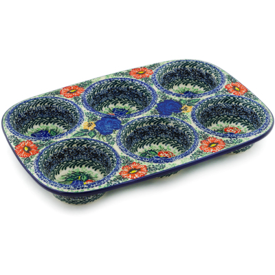 "Polish Pottery Muffin Pan 11"" Divine Meadow UNIKAT"