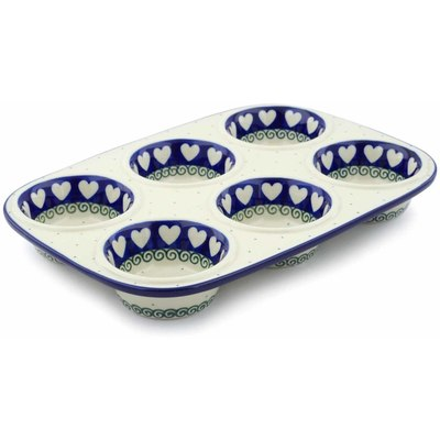 "Polish Pottery Muffin Pan 11"" Light Hearted"