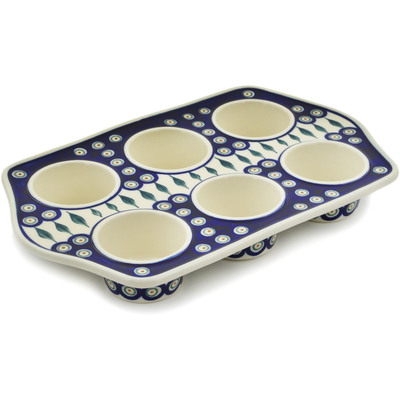 "Polish Pottery Muffin Pan 14"" Peacock Leaves"