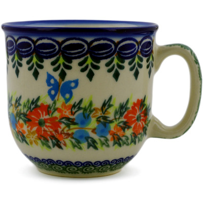 Polish Pottery Mug 10 oz Ring Of Flowers UNIKAT