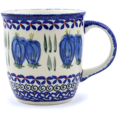 Polish Pottery Mug 12 oz Blue Bulbs