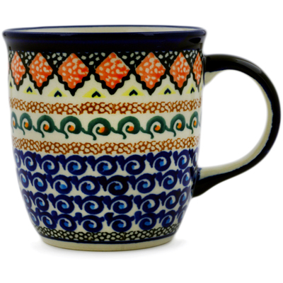 Polish Pottery Mug 12 oz Coral Diamonds UNIKAT