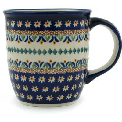 Polish Pottery Mug 12 oz Floral Peacock UNIKAT
