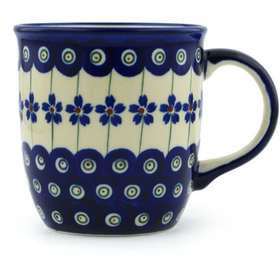 Polish Pottery Mug 12 oz Flowering Peacock