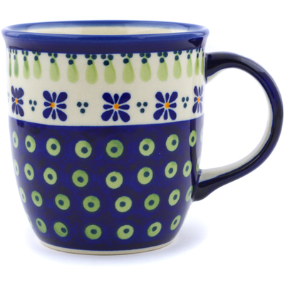 Polish Pottery Mug 12 oz Green Gingham Peacock