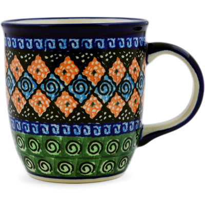 Polish Pottery Mug 12 oz Harlequin UNIKAT