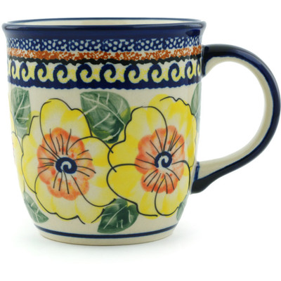 Polish Pottery Mug 12 oz Lemon Poppies UNIKAT