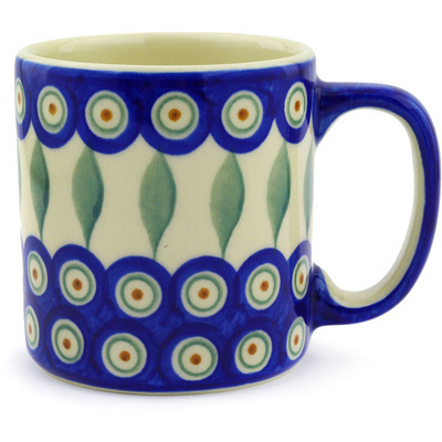 Polish Pottery Mug 12 oz Peacock