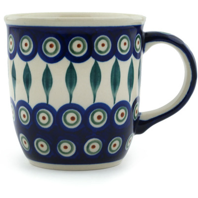 Polish Pottery Mug 12 oz Peacock Leaves