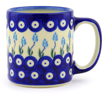 Polish Pottery Mug 12 oz Peacock Tulip Garden