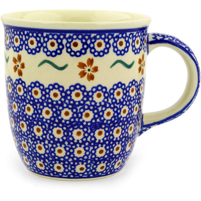 Polish Pottery Mug 12 oz Sweet Red Flower
