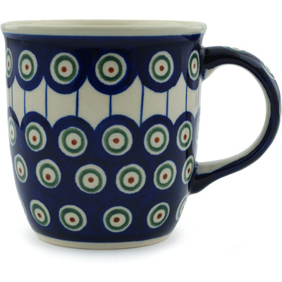 Polish Pottery Mug 12 oz Traditional Peacock