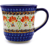 Polish Pottery Mug 14 oz Blooming Red