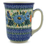 Polish Pottery Mug 17 oz Butterfly Blues UNIKAT