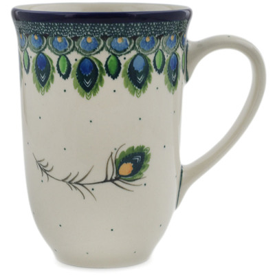 Polish Pottery Mug 17 oz Peacock Feather