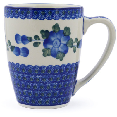 Polish Pottery Mug 22 oz Blue Poppies
